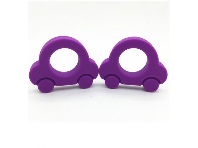 Kousátko silikonové - autíčko (1ks) - fialová