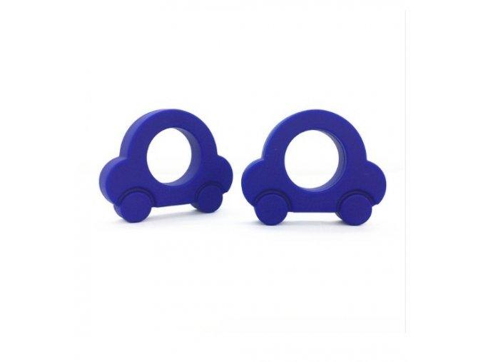Kousátko silikonové - autíčko (1ks) - tm.modrá