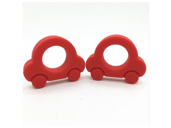 Kousátko silikonové - autíčko (1ks) - červená