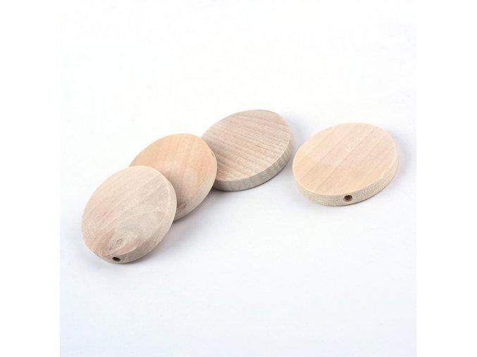 Dřevěné korálky disk pr.30mm (10ks)
