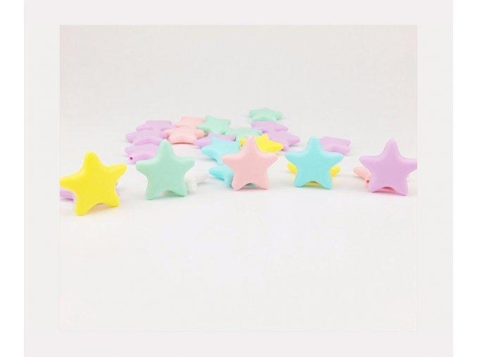 Kousátko silikonové - hvězda 40mm (1ks) - pink