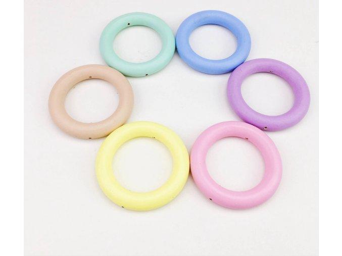 Dřevěný kroužek PASTEL OE70mm (1ks) - žlutá