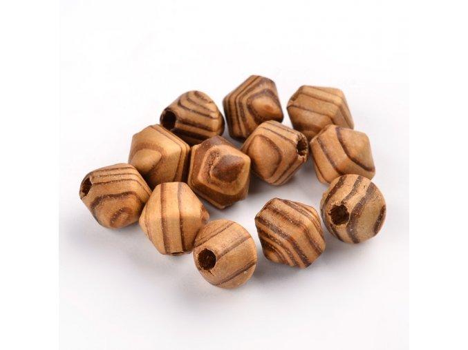 Dřevěné korálky bicone 16x15mm (10ks) tm.