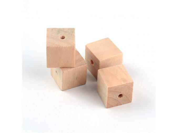Dřevěné korálky kostičky 15x15mm (10ks)