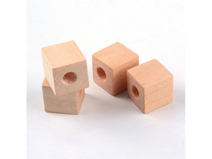 Dřevěné korálky kostičky 20x20mm (5ks)