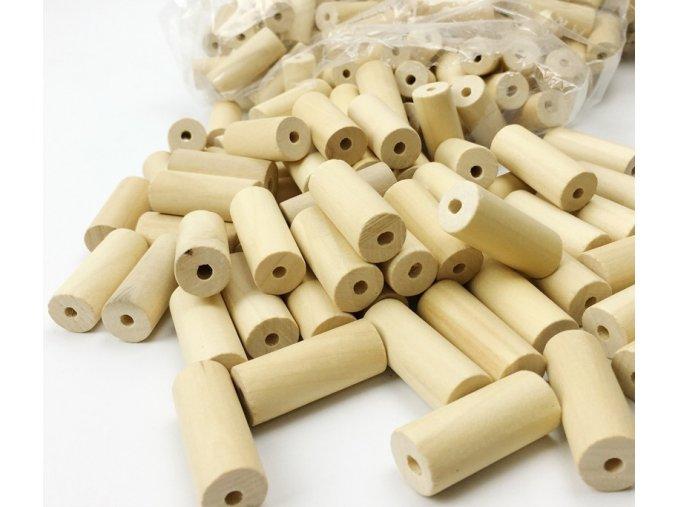 Dřevěné korálky váleček 36x15mm (2ks)