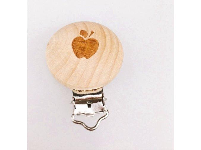 Klip na dudlík dřevěný (1ks) - jablíčko