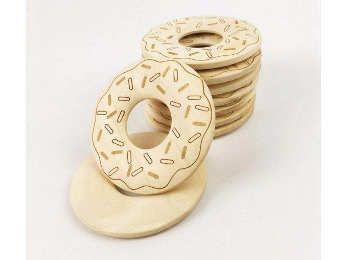 Dřevěné kousátko donut 59mm (1ks) - gravírovaný