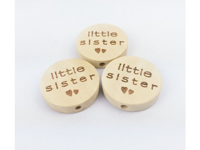 Dřevěné korálky disk 20mm (1ks) - LITTLE SISTER