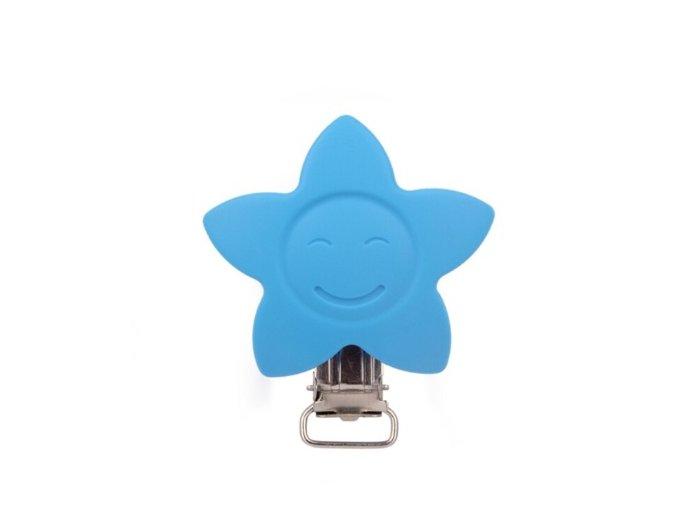 Klip silikonový HVĚZDA 4cm (1ks) - sky blue