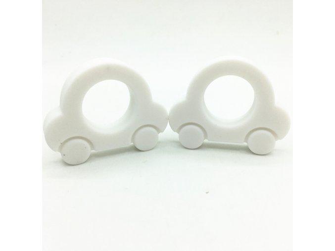 Kousátko silikonové - autíčko (1ks) - bílá