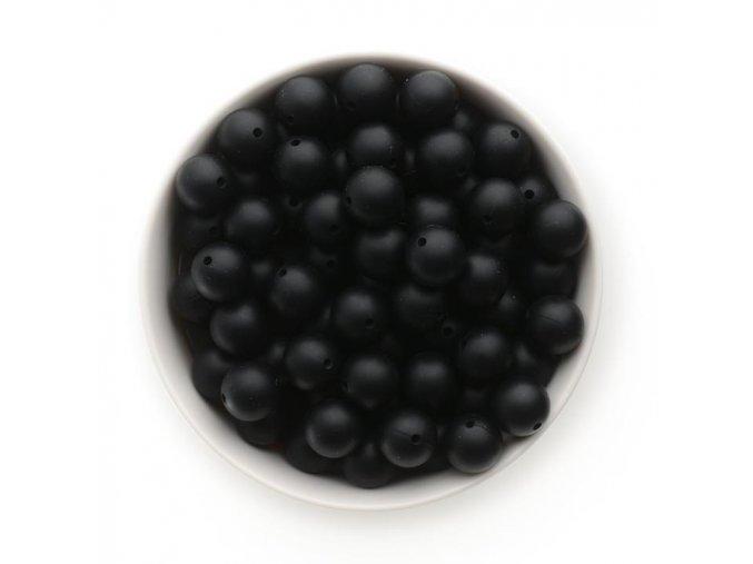 Silikonové korálky 15mm (10ks) - černá