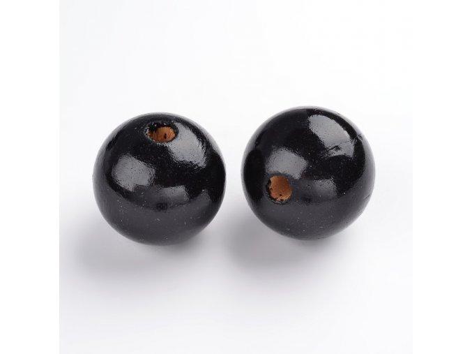 Dřevěné korálky pr.25mm (4ks) - Black
