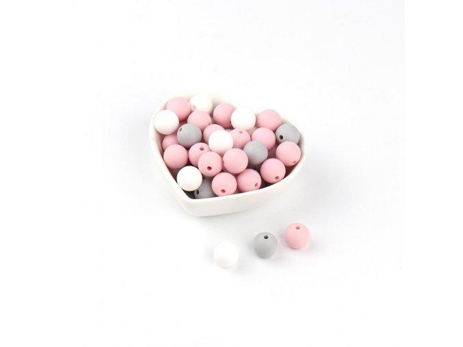 Silikonové korálky 9mm (10ks) - pastel pink mix