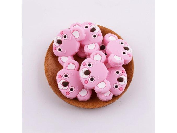Korálky silikonové KOALA 35mm (1ks) - pink