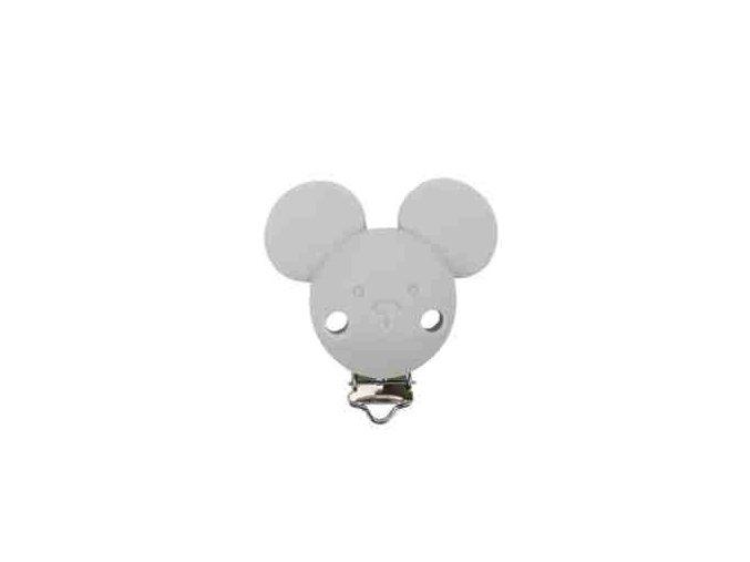 Klip na dudlík silikonový MICKEY (1ks) - sv. šedá