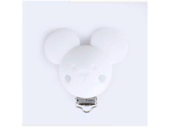 Klip na dudlík silikonový MICKEY (1ks) - white