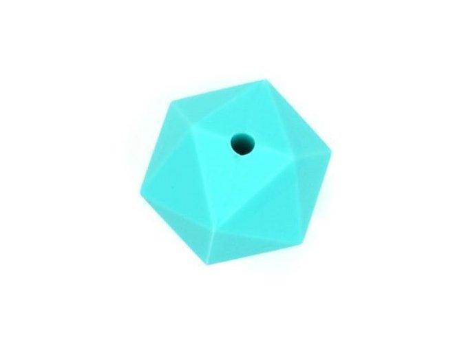 Silikonové korálky OCTAGON 20mm (1ks) - turquoise