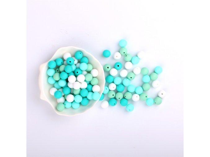 Silikonové korálky 10mm (10ks) - aqua mix