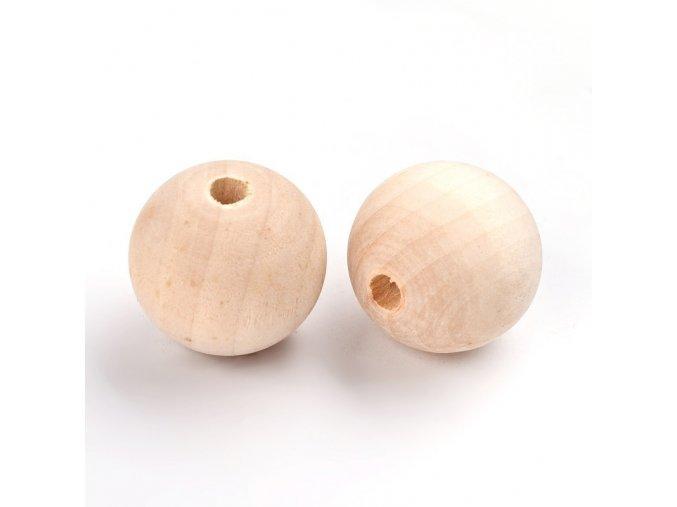 Dřevěné korálky MAXI pr.35mm (5ks) - přírodní