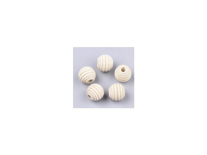 Dřevěné korálky Ø12mm (10ks) vroubkované