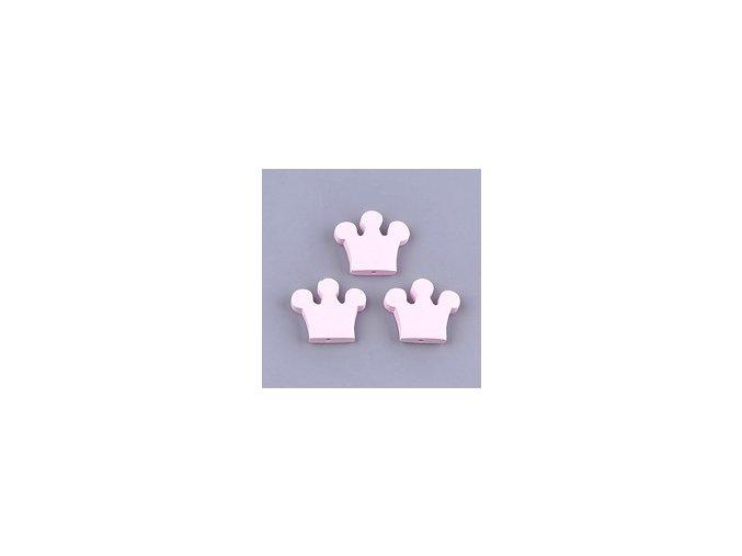 Dřevěné korálky KORUNKA 29x25mm (5ks) - pink