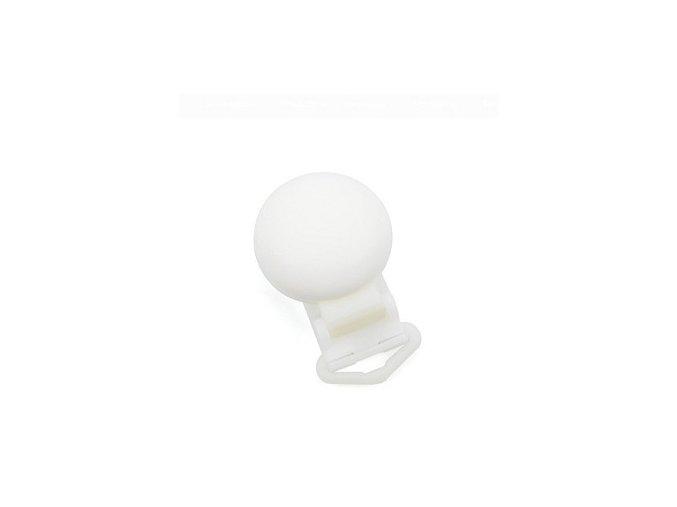 Klip na dudlík silikonový hladký (1ks) - white