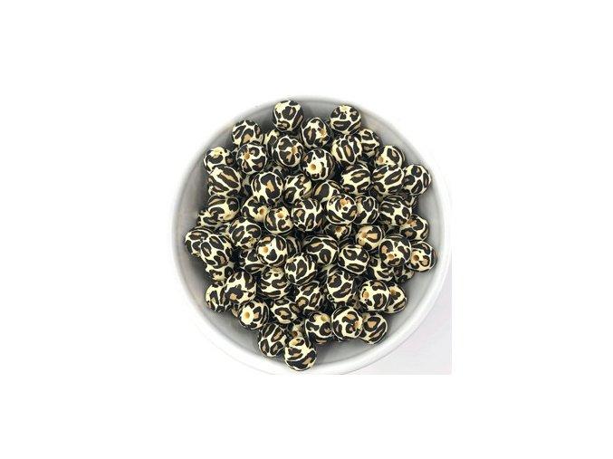 Silikonové korálky Ø12mm (10ks) - leopard