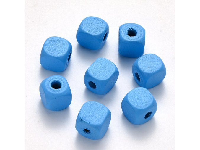 Dřevěné korálky kostky 10x10mm (50ks) - baby blue