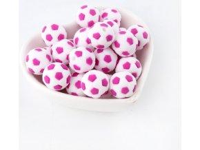 Silikonové korálky FOTBAL 15mm (1ks) - hot pink