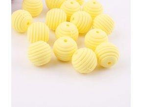Vroubkované silikonové korálky 15mm (1ks) - yellow