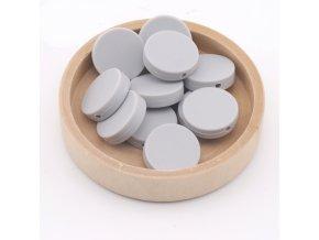 Silikonové korálky placka 20mm (1ks)-light grey