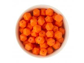 Silikonové korálky hexa 14mm (1ks) - orange