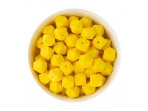 Silikonové korálky hexa 14mm (1ks) - yellow
