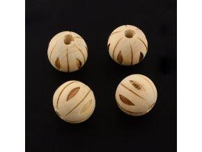 Dřevěné korálky vyřezávané 20mm (2ks)