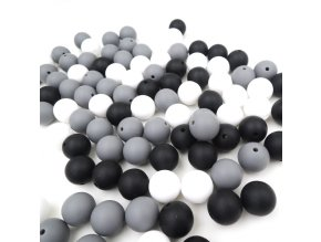 Silikonové korálky 9mm (10ks) - grey mix