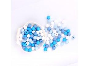 Silikonové korálky 9mm (10ks) - blue mix