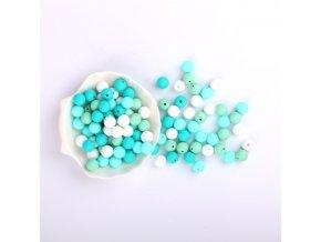Silikonové korálky 15mm (10ks) - aqua mix