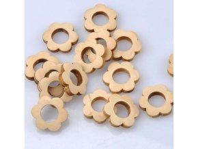 Dřevěné korálky KYTIČKA 26mm (3ks)