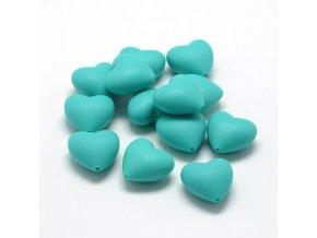 Silikonové srdíčko 20mm (1ks) - Turquoise