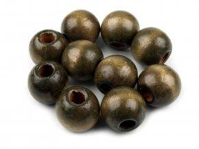 AKCE Korálky dřevěné 16mm (10ks) - olivová