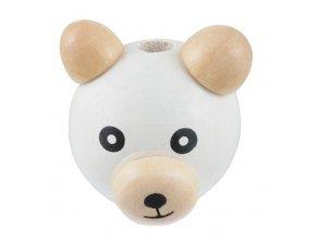 Dřevěná hlava medvídek OE28mm (1ks) - bílá