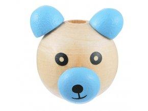 Dřevěná hlava medvídek OE28mm (1ks) - modrá