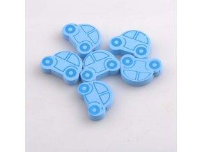 Dřevěné korálky autíčko 25x18mm (5ks) - modrá