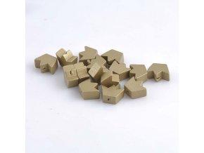 Dřevěné korálky korunka 13x18mm (10ks) - zlatá
