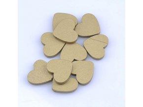 Dřevěné korálky srdíčko 23x21mm (10ks) - zlatá