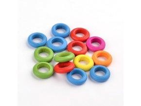 Dřevěné kroužky 15x4mm (50ks) - barevný mix