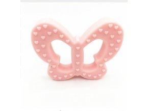 Kousátko silikonové - motýl (1ks) - pastel.růžová