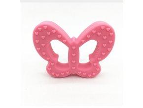 Kousátko silikonové - motýl (1ks) - růžová