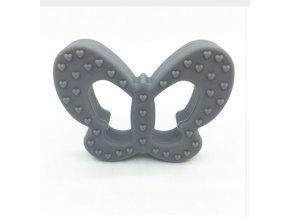 Kousátko silikonové - motýl (1ks) - šedá
